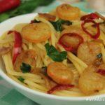 Spaghetti z krewetkami i chili