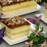 Sernik gotowany z solonym karmelem i orzechami włoskimi