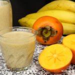 Koktajl bananowy z kaki na mleku sojowym