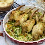 Przepiórki pieczone z warzywami